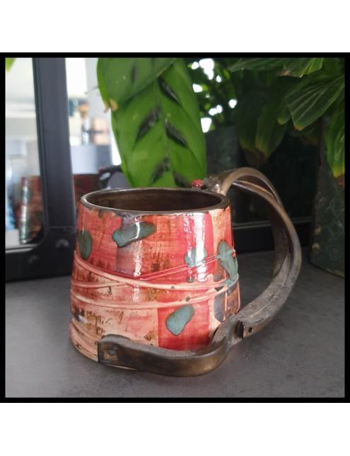 Mug original rouge et turquoise