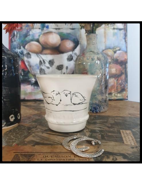 pot céramique motif oiseaux