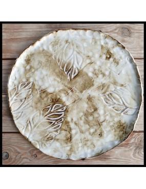 plat à tarte motif feuilles